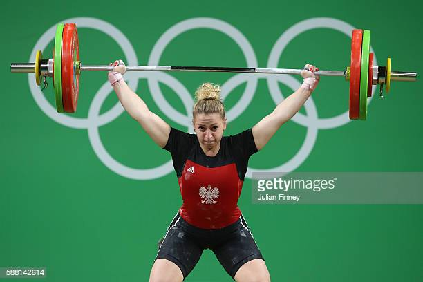 Patrycja Piechowiak of Poland lifts during the Women's 69kg Group B weightlifting contest on Day 5 of the Rio 2016 Olympic Games at Riocentro...