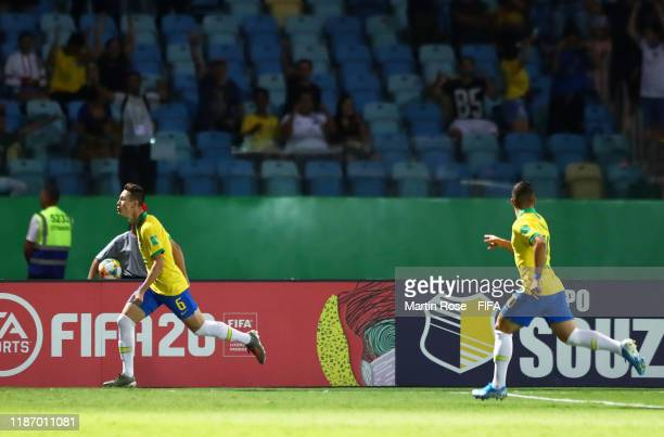 Patryck of Brazil celebrates after scoring his sides first goal during the FIFA U-17 World Cup Quarter Final match between Italy and Brazil at the...