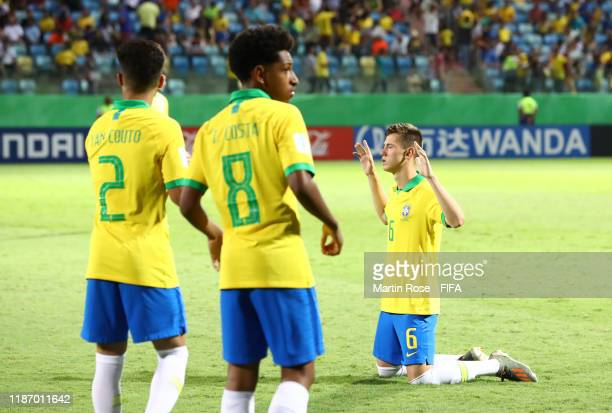 Patryck of Brazil looks on during the FIFA U-17 World Cup Quarter Final match between Italy and Brazil at the Estádio Olímpico Goiania on November...
