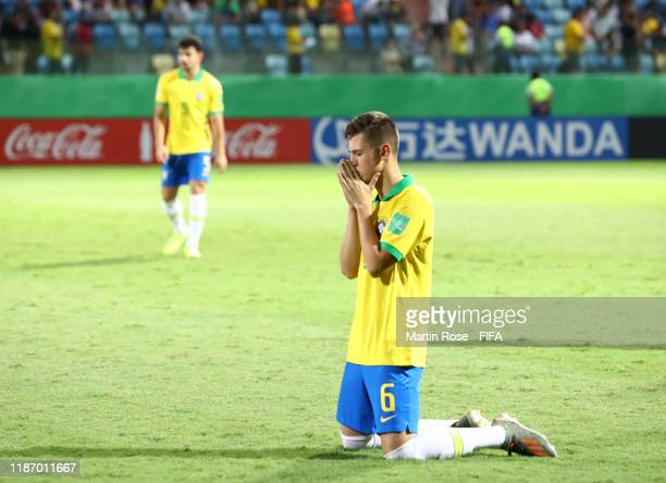 Patryck of Brazil looks on during the FIFA U17 World Cup Quarter Final match between Italy and Brazil at the Estádio Olímpico Goiania on November 11...