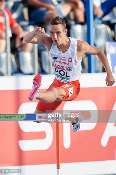 Patryk Dobek from Poland competes in mens 400 meters hurdles while European Athletics Team Championships Super League Bydgoszcz 2019 - Day One at...