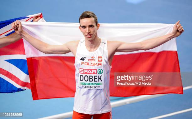 Patryk Dobek of Poland celebrates during the second session on Day 3 of European Athletics Indoor Championships at Arena Torun on March 07, 2021 in...