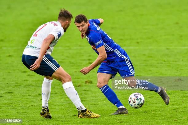 Patryk Tuszynski of Piast passes the ball during the PKO Ekstraklasa match between Gornika Zabrze and Piast Gliwice at Ernest Pohl Stadium on June 9,...