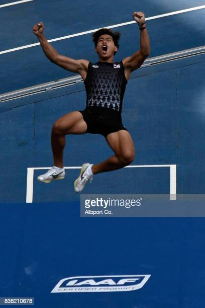 Patsapong Amsam-Ang of Thailand reacts after clearing the bar during the Men Pole Vault Final at Bukit Jalil National Stadium as part of the 2017 SEA...