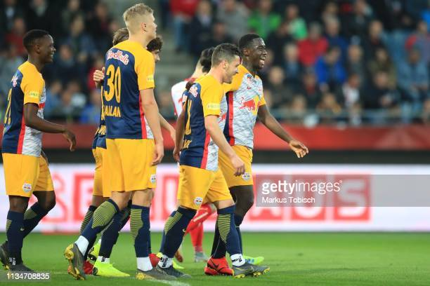 Patson Daka Erling Braut Haland and Zlatko Junuzovic of RB Salzburg celebrate during the UNIQA OeFB Cup Semifinal match between Grazer AK and Red...