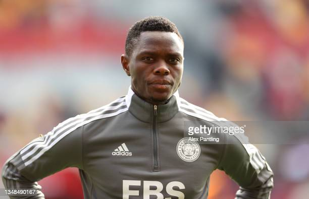 Patson Daka of Leicester City looks on as he warms up prior to the Premier League match between Brentford and Leicester City at Brentford Community...