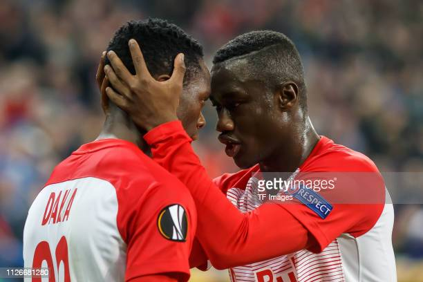 Patson Daka of RB Salzburg celebrates after scoring his team's second goal with team mates during the UEFA Europa League Round of 32 Second Leg match...
