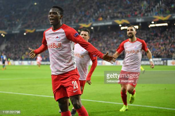 Patson Daka of RB Salzburg celebrates after scoring his team's second goal during the UEFA Europa League Round of 32 Second Leg match between RB...