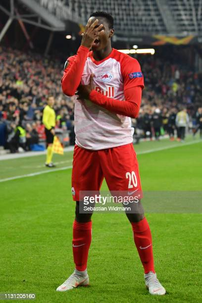 Patson Daka of RB Salzburg celebrates after scoring his team's third goal during the UEFA Europa League Round of 32 Second Leg match between RB...