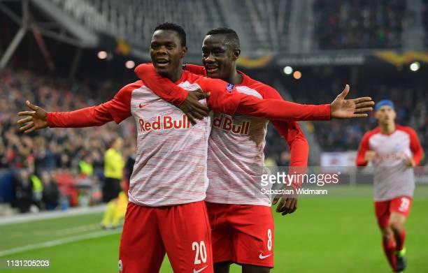 Patson Daka of RB Salzburg celebrates after scoring his team's third goal with Diadie Samassekou of RB Salzburg during the UEFA Europa League Round...
