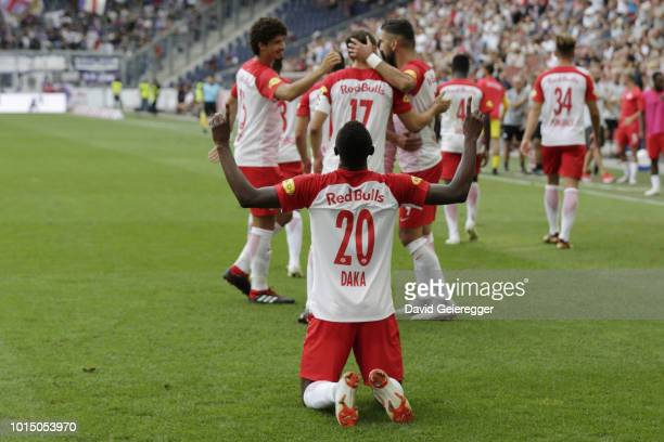 Patson Daka of RB Salzburg celebrates after scoring the opening goal with his teammates during the tipico Bundesliga match between RB Salzburg and...