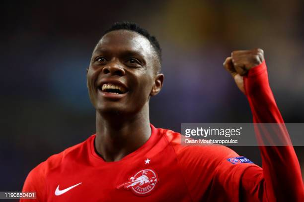 Patson Daka of RB Salzburg celebrates scoring a goal of the game during the UEFA Champions League group E match between KRC Genk and RB Salzburg at...