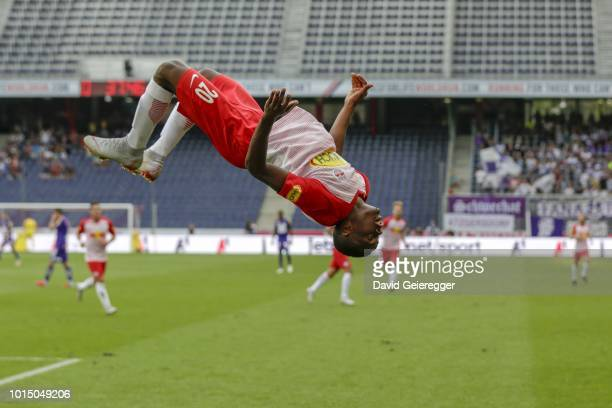 Patson Daka of RB Salzburg celebrates with a back flip after scoring the opening goal during the tipico Bundesliga match between RB Salzburg and...