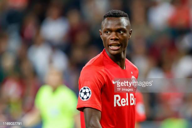 Patson Daka of RB Salzburg looks on during the UEFA Champions League group E match between RB Salzburg and KRC Genk at Red Bull Arena on September 17...