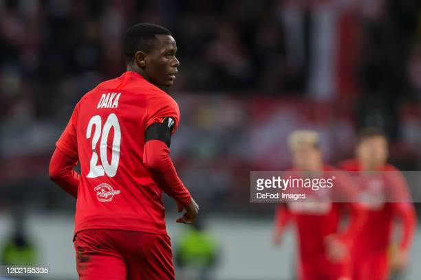 Patson Daka of RB Salzburg Looks on during the UEFA Europa League round of 32 first leg match between Eintracht Frankfurt and RB Salzburg at...