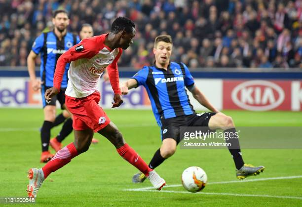 Patson Daka of RB Salzburg scores his team's second goal during the UEFA Europa League Round of 32 Second Leg match between RB Salzburg and Club...