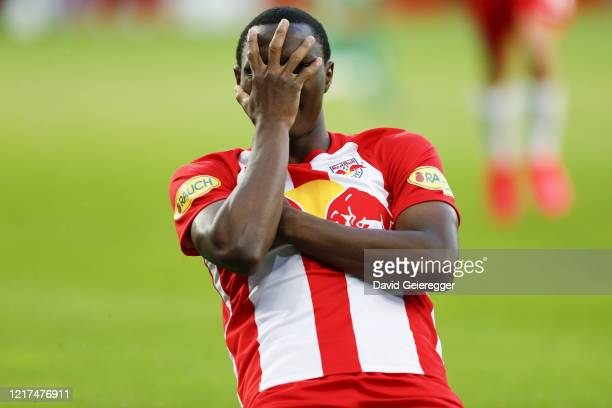 Patson Daka of Salzburg celebrates after scoring the opening goal for his team during the tipico Bundesliga match between Red Bull Salzburg and SK...