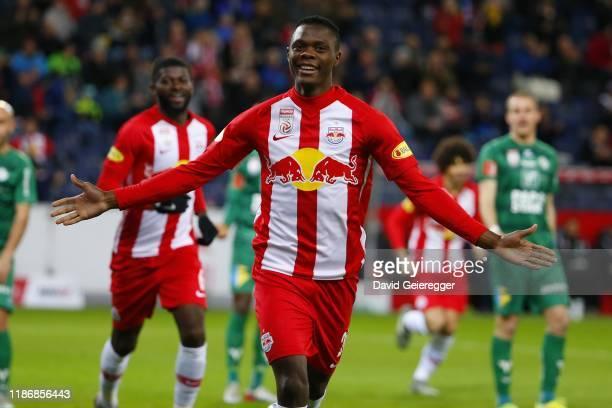 Patson Daka of Salzburg celebrates after scoring the opening goal during the tipico Bundesliga match between FC Red Bull Salzburg and WSG Swarovski...