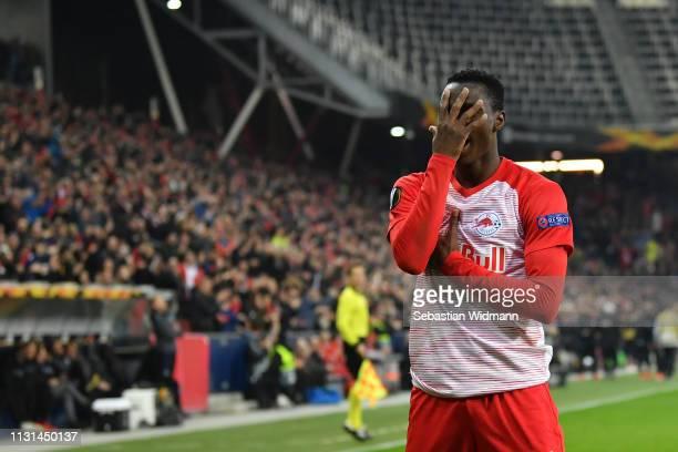 Patson Daka of Salzburg celebrates scoring his team's third goal during the UEFA Europa League Round of 32 Second Leg match between RB Salzburg and...