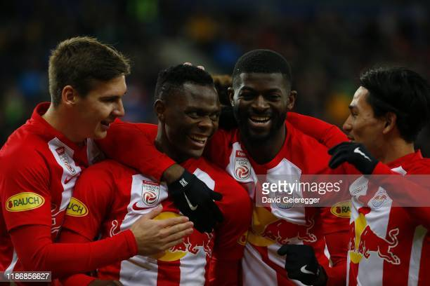 Patson Daka of Salzburg celebrates with his teammates after scoring the opening goal during the tipico Bundesliga match between FC Red Bull Salzburg...