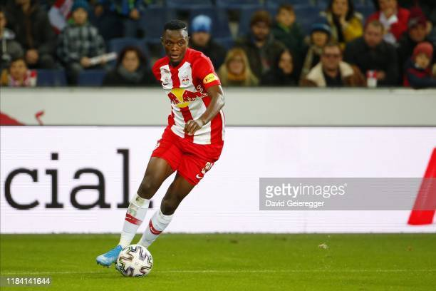 Patson Daka of Salzburg controls the ball during the tipico Bundesliga match between FC Red Bull Salzburg and Spusu SKN St Poelten at Red Bull Arena...