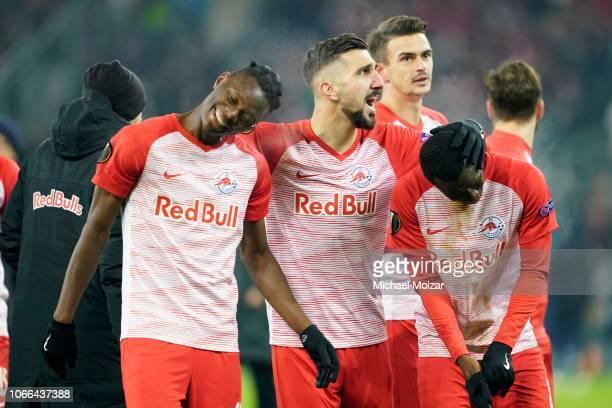 Patson Daka of Salzburg Diadie Samassekou of Salzburg and Munas Dabbur of Salzburg are celebrating their victory during the UEFA Europa League Group...
