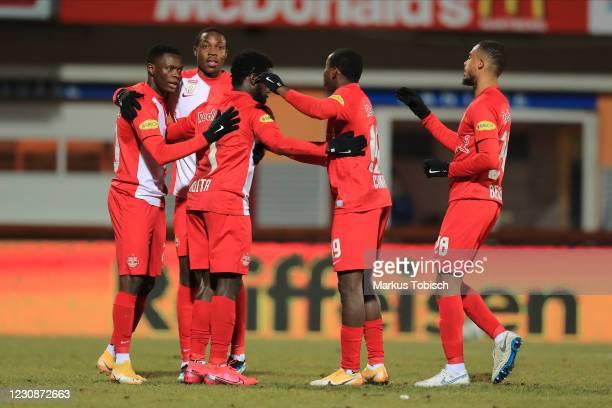 Patson Daka of Salzburg, Enock Mwepu of Salzburg, Sekou Koita of Salzburg, Mohamed Camara of Salzburg and Antoine Bernede of Salzburg celebrate a...