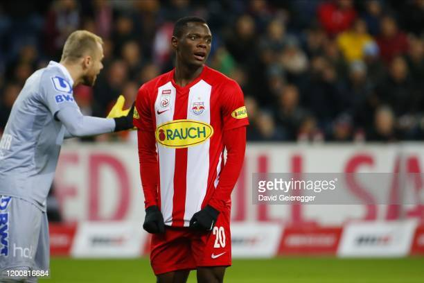Patson Daka of Salzburg looks on after a missed chance during the tipico Bundesliga match between FC Red Bull Salzburg and Lask at Red Bull Arena on...