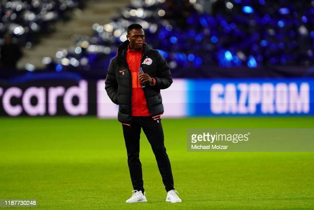 Patson Daka of Salzburg looks on during the Group E UEFA Champions League match between Red Bull Salzburg and Liverpool FC at Red Bull Arena on...