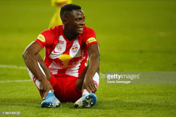Patson Daka of Salzburg looks on during the tipico Bundesliga match between FC Red Bull Salzburg and Spusu SKN St Poelten at Red Bull Arena on...