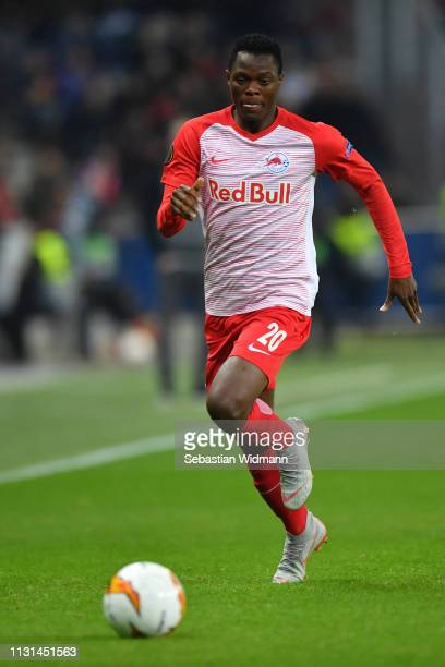 Patson Daka of Salzburg runs with the ball during the UEFA Europa League Round of 32 Second Leg match between RB Salzburg and Club Brugge at Red Bull...