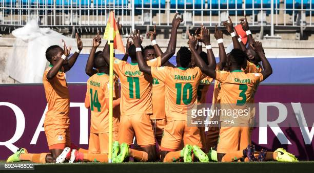 Patson Daka of Zambia celebrates with team mates after scoring his teams first goal during the FIFA U20 World Cup Korea Republic 2017 Quarter Final...