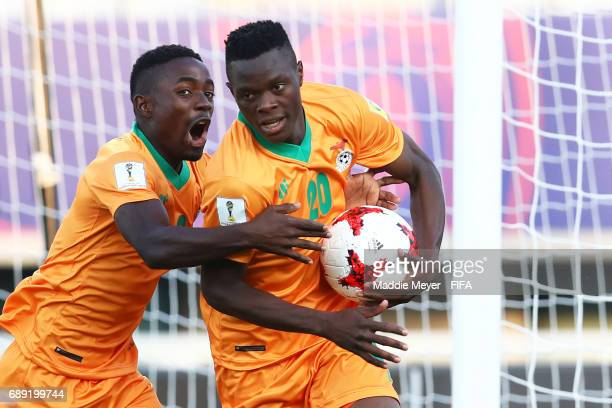 Patson Daka of Zambia right celebrates with Harrison Chisala after scoring a goal during the FIFA U20 World Cup Korea Republic 2017 group C match...