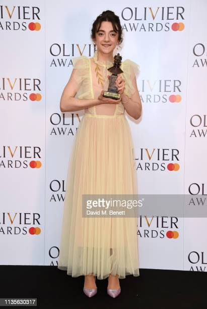 Patsy Ferran winner of the Best Actress award for 'Summer And Smoke' poses in the press room at The Olivier Awards 2019 with Mastercard at The Royal...