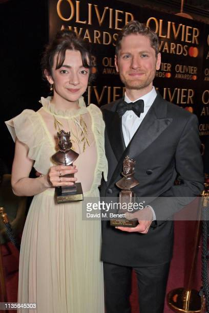 Patsy Ferran winner of the Best Actress award for 'Summer And Smoke' and Kyle Soller winner of the Best Actor award for 'The Inheritance' attend The...