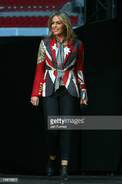 Patsy Kensit on stage during The Concert For Diana held at Wembley Stadium on July 1, 2007 in London. The concert marked the 10th anniversary of...