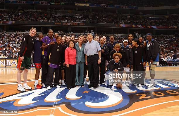 Patsy Mink Val Ackerman and Birch Bayh celebrate the 30th Anniversary of Title IX during halftime of the WNBA AllStar game July 15 2002 in Washington...
