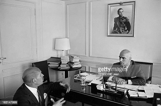 Pattakos Greek Minister Of The Interior En Grèce en juin 1967 Stylianos PATTAKOS ministre grec de l'Intérieur dans son bureau à Athènes interviewé...