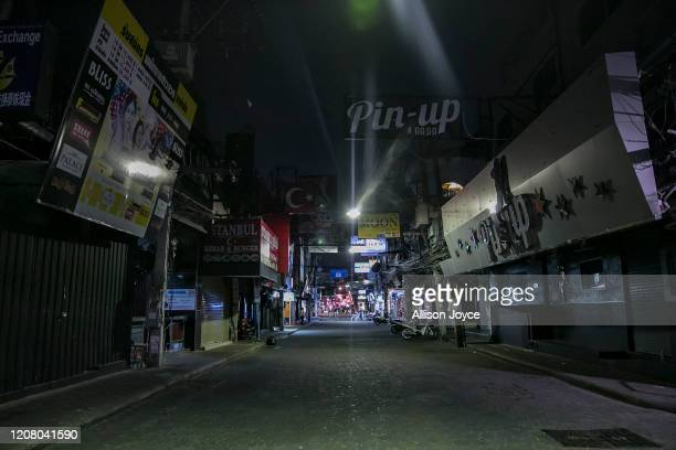 Pattay Walking Street a normally busy bar and party street is mostly empty on March 23 2020 in Pattaya Thailand On March 18th Pattaya announced the...