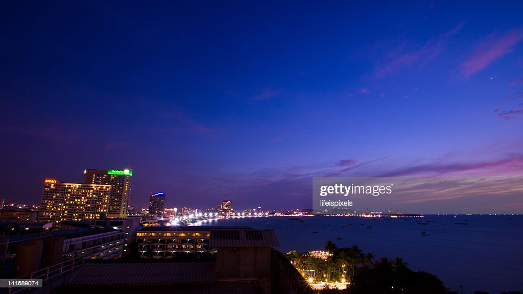 Pattaya at dusk : Stock Photo
