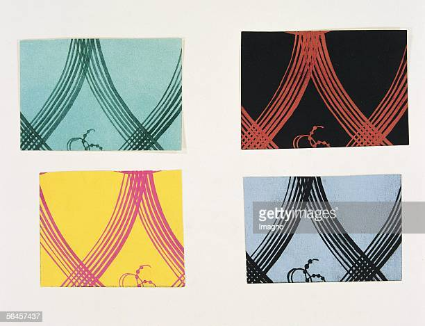 Pattern design for the fabric Palatin by the Wiener Werkstaette in four different colours 1912 By Dagobert Peche Watercolour Tempera...