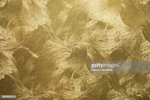 pattern golden washi paper texture background - japanese culture stock pictures, royalty-free photos & images
