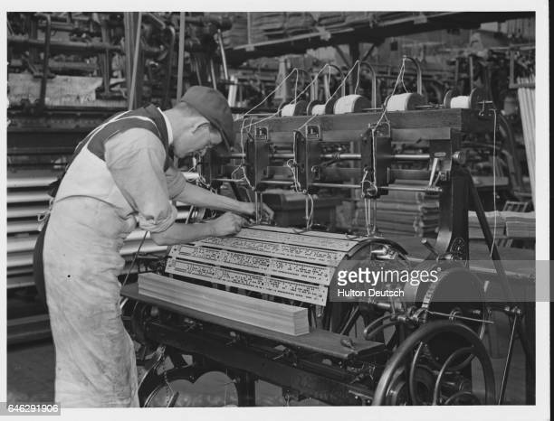 A pattern machine for the mechanised production of lace in Nottingham England in the 1920s