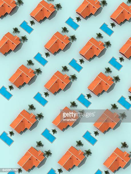 Pattern made of houses with swimming pools