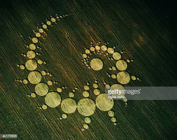 pattern of circles in field - crop circle stock pictures, royalty-free photos & images