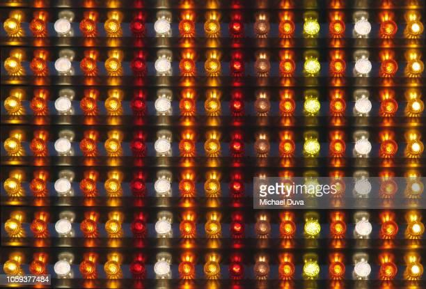 pattern of colorful lights from amusement park - incandescent bulb fotografías e imágenes de stock