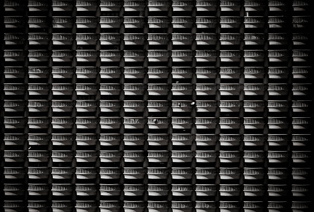 Pattern of hotel balconies in black and white