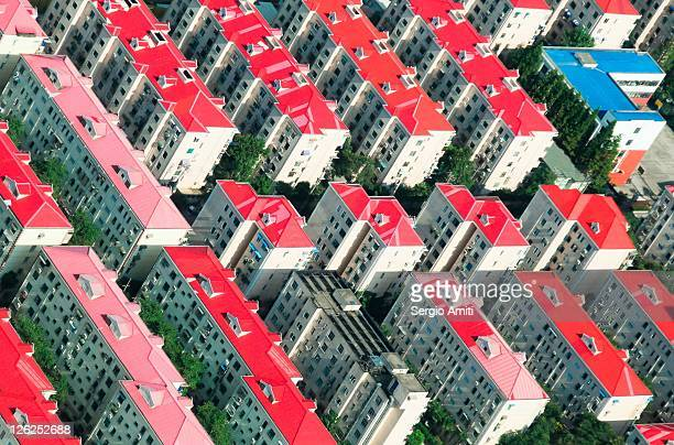 Pattern of red roof tops