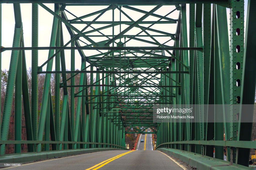 Pattern on an old metallic bridge seen on a rural road in... : News Photo