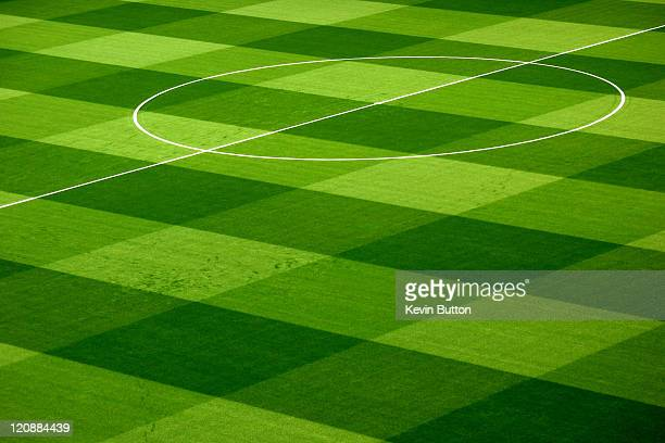 pattern on football pitch - gras stock pictures, royalty-free photos & images